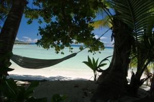 Strand Silhouette Seychellen Hängematte